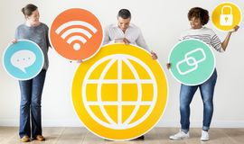 Diverse people with social media icons Stock Image