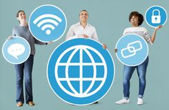 Diverse people with social media icons stock photo
