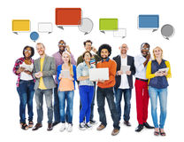 Diverse People Social Networking and Speech Bubbles Stock Photography