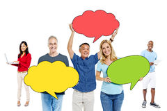 Diverse People with Speech Bubbles Royalty Free Stock Images