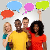 Diverse people with speech bubbles. Happy group people with speech bubbles vector illustration