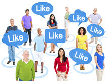 Diverse People and Speech Bubbles With Word Like Stock Photo