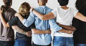 Diverse people with teamwork concept royalty free stock images