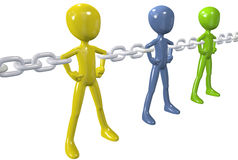Diverse people unite in strong chain link group. Strong chain links connect and unite a group of diverse people together Stock Photo