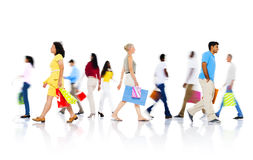 Diverse People Walking with Shopping Bag Royalty Free Stock Photos