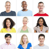 9 Diverse People on White Background Royalty Free Stock Photos