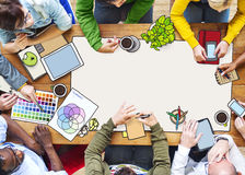 Diverse People Working and Copy Space Illustration.  Royalty Free Stock Photo