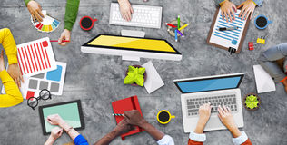Diverse People Working and Photo Illustrations Stock Image