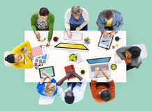 Diverse People Working and Photo Illustrations Concept Stock Photo