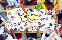 Diverse People Working and Web Design Concept Royalty Free Stock Photos