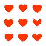 Diverse pictogrammen van de hartvorm Stock Foto