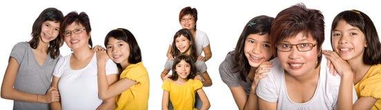 Diverse portretten van Chinese vrouw met dochters stock afbeelding