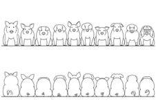 Diverse rassen van reeks van de varkens de voor en achtergrens vector illustratie