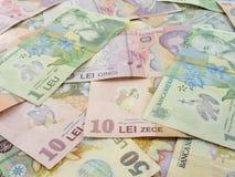 Diverse Roemeense overal uitgespreide bankbiljetten van muntlei Royalty-vrije Stock Afbeelding
