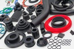 Diverse rubberproducten en verzegelende producten bij de tentoonstelling s Royalty-vrije Stock Foto
