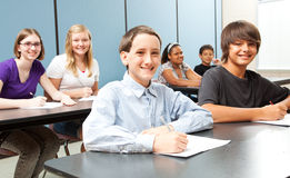 Diverse School Kids. Diverse group of middle-school children in class royalty free stock photos