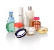 Diverse schoonheidsmiddelen voor huidzorg Stock Afbeeldingen