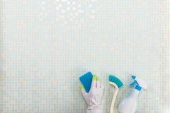 Diverse schoonmakende hulpmiddelen en tegel stock foto