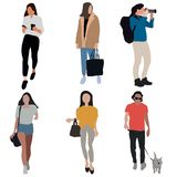 Diverse set of cartoon people. Men and women of all ages and lifestyles. stock illustration