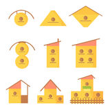 Diverse set of simple, cartoon houses for birds. Royalty Free Stock Photos