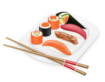 Diverse set of sushi with chopsticks on a plate  Royalty Free Stock Photo