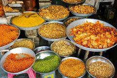 Diverse Snacks en Schotels van India Stock Afbeeldingen