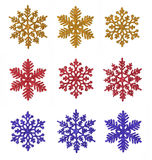 diverse snowflakes Arkivfoto