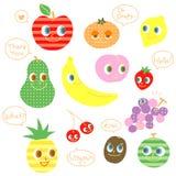 Diverse soorten fruit, sprekende karakters stock illustratie