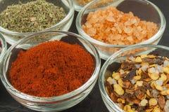 Diverse soorten kruiden in glaskommen op een leiachtergrond Voorbereiding voor het koken van kruidig voedsel Kruiden voor hoofdko Royalty-vrije Stock Foto's