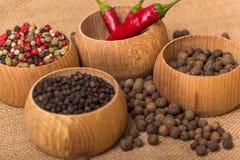 Diverse soorten peper stock foto's