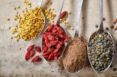 Diverse soorten superfoods Royalty-vrije Stock Foto