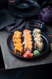 Diverse soorten sushi royalty-vrije stock afbeelding