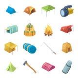 Diverse soorten tenten en andere toeristentoebehoren De pictogrammen van de tent vastgestelde inzameling in vector het symboolvoo stock illustratie