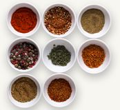 Diverse spices in plates on dark background, closeup, copy space. Spices assortment in separate bowls on white  background. Salt and peppers mix, rosemary and Royalty Free Stock Photo