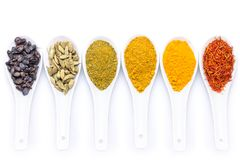 Diverse of spices in a spoon isolated on white background Royalty Free Stock Photo