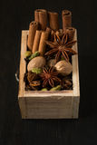 Diverse spices in a wooden box: cinnamon, nutmeg, cardamom, cloves, anise stars Royalty Free Stock Image