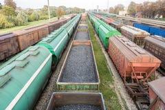 Diverse spoorwagonnen stock afbeeldingen