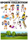 Diverse sport set and green field royalty free illustration