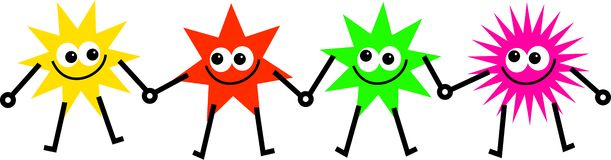 Diverse stars. Team of diverse and colourful cartoon stars holding hands Royalty Free Stock Photos