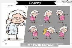 Diverse stelt de Vrouw van de beeldverhaal Oude dag en Uitdrukkingen Vectorillustratie vector illustratie