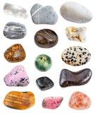 Diverse stenen greywacke, bergkristal, enz. royalty-vrije stock foto