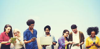 Diverse Students Studying Together Technology Concept Stock Photography