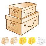 Diverse styles of Delivery Box Mascot Sets. Product and Distribu Royalty Free Stock Photos
