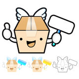 Diverse styles of Delivery Box Mascot Sets. Product and Distribu Royalty Free Stock Image