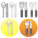 Diverse styles of Fork and Knife Sets. Kitchen utensils Vector I Stock Photography