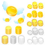 Diverse styles of Gold coin Sets. Economy and Finance Vector Ico Stock Image