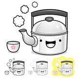Diverse styles of kettle and teakettle Sets. Kitchen utensils Ve Royalty Free Stock Photography