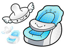 Diverse styles of Pacifier and Car Seats Sets. Baby and Children Royalty Free Stock Photos
