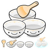 Diverse styles of Rice bowl and Soup bowl Sets. Kitchen utensils Stock Image
