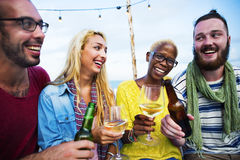 Diverse Summer Beach Party Roof Top Fun Concept Stock Photography